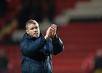 Grant McCann manager of Peterborough United applauds the fans during the Sky Bet League 1 match between Charlton Athletic and Peterborough at The Valley, London, England on 28 November 2017. Photo by Vince  Mignott / PRiME Media Images.