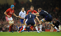 Wales' Gareth Anscombe is tackled by Scotland's Jonny Gray<br /> <br /> Photographer Ian Cook/CameraSport<br /> <br /> Under Armour Series Autumn Internationals - Wales v Scotland - Saturday 3rd November 2018 - Principality Stadium - Cardiff<br /> <br /> World Copyright &copy; 2018 CameraSport. All rights reserved. 43 Linden Ave. Countesthorpe. Leicester. England. LE8 5PG - Tel: +44 (0) 116 277 4147 - admin@camerasport.com - www.camerasport.com