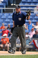 July 7th 2008:  Home plate umpire Brad Purdom during a game at NYSEG Stadium in Binghamton, NY.  Photo by:  Mike Janes/Four Seam Images