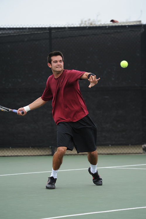 SAN DIEGO, CA - APRIL 25:  Andrew Kells of the Santa Clara Broncos during the WCC Tennis Championships at the Barnes Tennis Center on April 25, 2010 in San Diego, California.