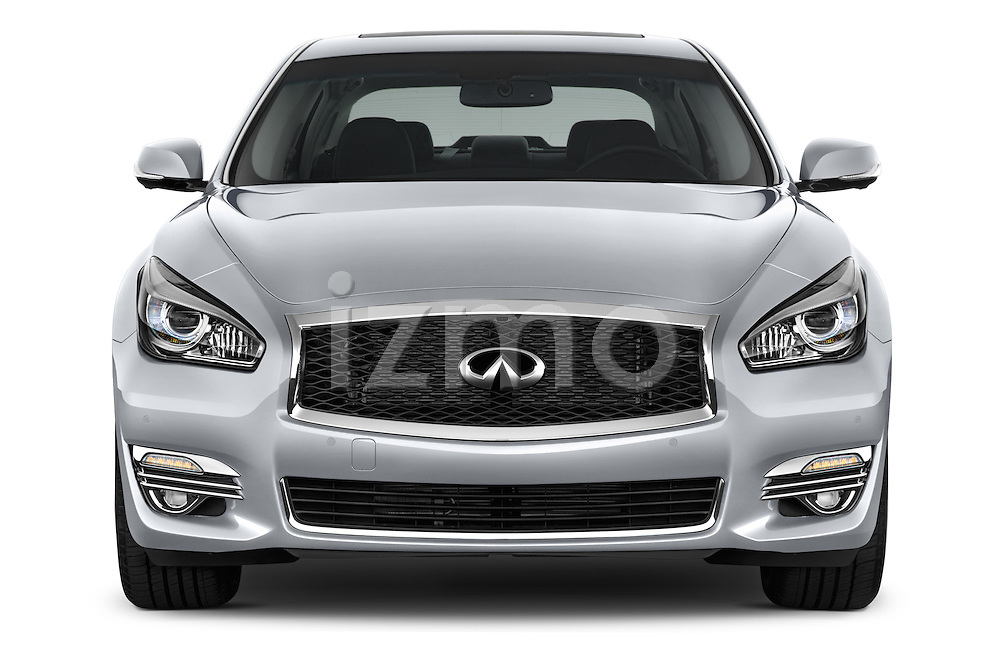 Car photography straight front view of a 2015 Infiniti Q70 Premium 4 Door Sedan 2WD Front View