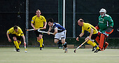Scottish Hockey Subway National League Div 1A, at Titwood, Glasgow, on Saturday - Kelburne HC (in yellow) displayed their dominance of the National Leagues with a 9-1 demolition of Clydesdale HC - pic shows 'Dale defender Ciaran Crawford (in blue) trying to stem the flow of a Kelburne attack - Picture by Donald MacLeod 24.04.10 - mobile 07702 319 738