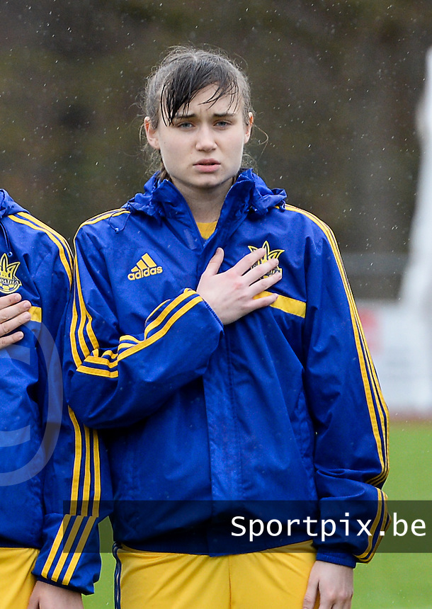 20150404 - FORST , GERMANY  : Ukrainian Sofiya Ruban pictured during the soccer match between Women Under 19 teams of Belgium and Ukraine , on the first matchday in group 5 of the UEFA Elite Round Women Under 19 at WaldseeStadion , Forst , Germany . Saturday 4th April 2015 . PHOTO DAVID CATRY
