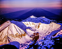 La Sal Mountains and dawn shadows, Manti-La Sal National Forest, Utah, middle group of La Sals, Mountains Peale, Tukuhnikivatz, Mellenthin, aerial view