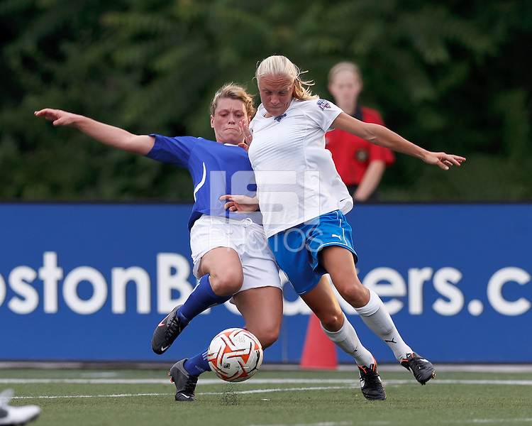 ASA Chesapeake Charge forward/midfielder Brittany Hadaway (22) working hard to disrupt Boston Breakers midfielder Tameka Butt (3). In a Women's Premier Soccer League Elite (WPSL) match, the Boston Breakers defeated ASA Chesapeake Charge, 3-1, at Dilboy Stadium on July 6, 2012.
