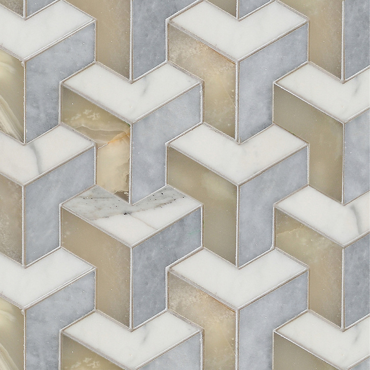 Francois Grand, a waterjet mosaic shown in  honed Calacatta, honed Allure, and polished Cream Onyx, is part of the Illusions® collection by New Ravenna.
