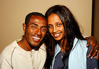 Kenenisa Bekele of Ethiopia and his wiife actress Danawit Gebreziabher at the Prefontaine Classic Press Conference on Saturday, June 7th. 2008. Photo by Errol Anderson, The Sporting Image.
