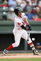 Right fielder Lorenzo Cedrola (5) of the Greenville Drive bats in a game against the Asheville Tourists on Wednesday, August 2, 2017, at Fluor Field at the West End in Greenville, South Carolina. Greenville won, 1-0. (Tom Priddy/Four Seam Images)