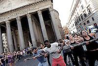 Roma, 3 Ottobre 2016<br /> Prima Giornata della Memoria delle vittime dell'immigrazione. Sit in e flash mob dell'Arci per ricordare le migliaia di persone in fuga dai loro paesi, morte nella ricerca di un futuro migliore, per chiedere che  aprano corridoi umanitari e si adottino politiche di vera accoglienza. <br /> Il 3 ottobre di tre anni fa, 368 persone morirono annegate al largo di Lampedusa. Erano donne, uomini, bambini che provenivano per lo più dall'Eritrea per fuggire alla dittatura del presidente Afewerki. <br /> <br /> Rome, October 3, 2016<br /> First Day of Remembrance of the victims of immigration. Flash mob of Arci association in Piazza del Pantheon to commemorate the thousands of people fleeing from their countries, death in search of a better future, to ask that open humanitarian corridors and adopt genuine hospitality policies.<br /> October 3, three years ago, 368 people died drowned off Lampedusa. Were women, men, children who came mostly from Eritrea to escape the dictatorship of President Afewerki.