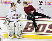 Chris Venti (BC - 30), Mike Feeley (BC - Student Manager) - The Boston College Eagles defeated the University of Massachusetts-Amherst Minutemen 2-1 (OT) on Friday, February 26, 2010, at Conte Forum in Chestnut Hill, Massachusetts.