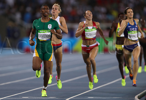 18.08.2016. Rio de Janeiro, Brazil. Caster Semenya (L) of South Africa competes in Women's 800m Semi-finals of the Olympic Games 2016 Athletic, Track and Field events at Olympic Stadium during the Rio 2016 Olympic Games in Rio de Janeiro, Brazil, 18 August 2016.