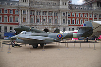 EE549 Gloster Meteor F4<br /> RAF100 Aircraft Tour: aircraft of the UK RAF / Royal Air Force on display on Horse Guards Parade in front of the Admiralty House, London, England on July 06, 2018.<br /> The actual aircraft that captured the world air speed record of 616 mph in 1946. The RAF High Speed Flight was reformed in late 1945 at Tangmere in order to make an attempt on the world air speed record. In August 1946, it received Meteor F4 EE549 direct from the Gloster Aircraft Company. On 7th September 1946, Gp Capt E M (Teddy) Donaldson set a new world record of 615.78 mph flying EE549 off the Sussex coast at Rustington. On returning from the Paris Air Show in January 1947, the same aircraft set a new record time of 20 min 11 sec between Paris (Le Bourget) and London (Croydon). She later saw service with the Fighter Command units before being retired to instructional airframe duties at Cranwell in June 1952. EE549 went into store in June 1958 before finally going on display at the RAF Museum in 1972. She is currently on loan from the RAF Museum.<br /> CAP/SDL<br /> &copy;Stephen Loftus/Capital Pictures
