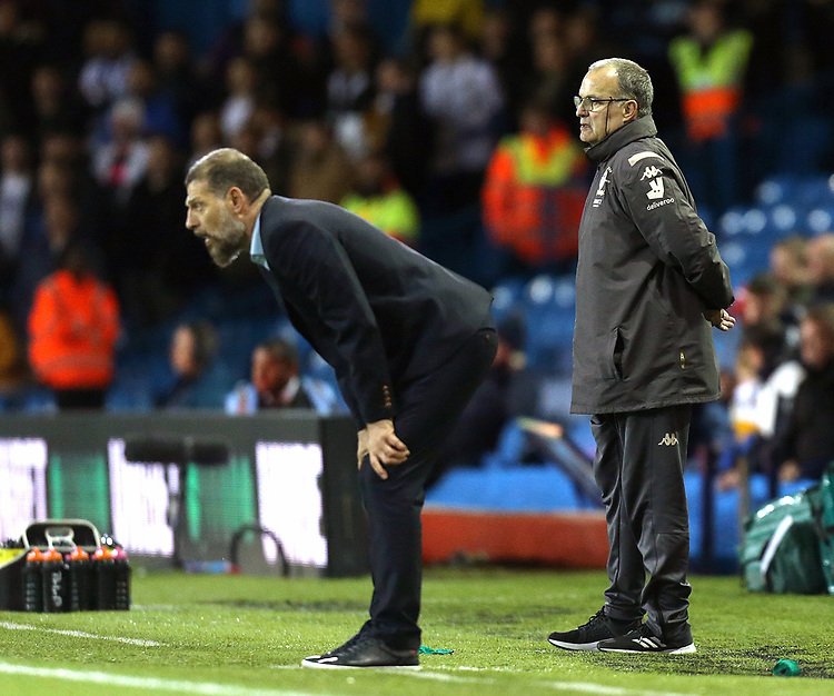 West Bromwich Albion manager Slaven Bilic (left) and Leeds United manager Marcelo Bielsa <br /> <br /> Photographer Rich Linley/CameraSport<br /> <br /> The EFL Sky Bet Championship - Tuesday 1st October 2019  - Leeds United v West Bromwich Albion - Elland Road - Leeds<br /> <br /> World Copyright © 2019 CameraSport. All rights reserved. 43 Linden Ave. Countesthorpe. Leicester. England. LE8 5PG - Tel: +44 (0) 116 277 4147 - admin@camerasport.com - www.camerasport.com