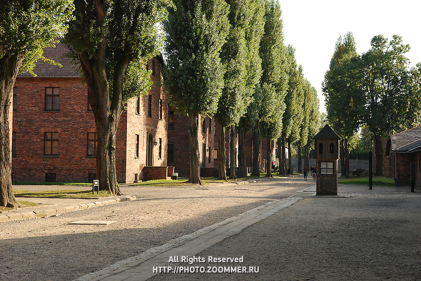 Red barracks and Guard Tower Appellplatz in Auschwitz camp Poland, holocaust museum of World War 2