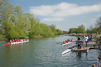 Rowers on the River Thames at Abingdon, Oxfordshire, Uk