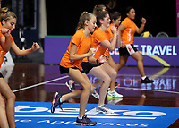 23.02.2018 Netball Smart warm ups during the Malawi v Jamaica Taini Jamison Trophy netball match at the North Shore Events Centre in Auckland. Mandatory Photo Credit ©Michael Bradley.