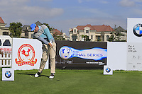 Thomas Aiken (RSA) on the 1st tee for the start of Tuesday's Pro-Am Day of the 2014 BMW Masters held at Lake Malaren, Shanghai, China 28th October 2014.<br /> Picture: Eoin Clarke www.golffile.ie