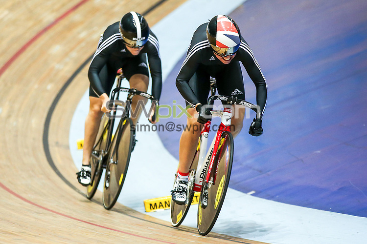 Picture by Alex Whitehead/SWpix.com - 27/09/2014 - Cycling - 2014 British Cycling National Track Championships - Day 4 - National Cycling Centre, Manchester, England - West Midlands' Danielle Khan and Jessica Varnish in action during the Women's Team Sprint qualification.