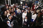Nik Walker backstage with student performers before the Gilder Lehman Institute of American History Education Matinee of 'Hamilton' at the Richard Rodgers  Theatre on December 15, 2016 in New York City.