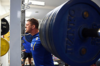 Charlie Ewels of Bath Rugby in the gym. Bath Rugby pre-season training on July 2, 2018 at Farleigh House in Bath, England. Photo by: Patrick Khachfe / Onside Images