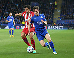 Leicester's Ben Chilwell tussles with Atletico's Stefan Savic during the Champions League Quarter-Final 2nd leg match at the King Power Stadium, Leicester. Picture date: April 18th, 2017. Pic credit should read: David Klein/Sportimage