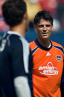 Houston Dynamo goalkeeper Pat Onstad (18) talks with New York Red Bulls goalkeeper Jon Conway (18) before the game. The New York Red Bulls defeated the Houston Dynamo 3-0 during a Major League Soccer match at Giants Stadium in East Rutherford, NJ, on August 24, 2008.