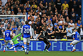 1st October 2017, Hillsborough, Sheffield, England; EFL Championship football, Sheffield Wednesday versus Leeds United; Gary Hooper of Sheffield Wednesday shoots and its saved