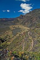 A challenging, but nonetheless enjoyable hike along the steep cliffs of HALEAKALA NATIONAL PARK on Maui in Hawaii