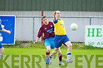 Claasic FC's Timmy Lynch shows great chest control against Spa Road FC's Domnick Houlihan in the premier B Final at Mounthawk park, Tralee on Friday...