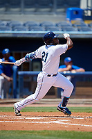 Charlotte Stone Crabs Moises Gomez (21) bats during a Florida State League game against the Dunedin Blue Jays on April 17, 2019 at Charlotte Sports Park in Port Charlotte, Florida.  Charlotte defeated Dunedin 4-3.  (Mike Janes/Four Seam Images)