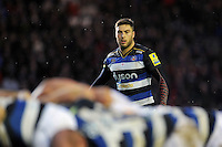 Matt Banahan of Bath Rugby watches a scrum. Aviva Premiership match, between Leicester Tigers and Bath Rugby on November 29, 2015 at Welford Road in Leicester, England. Photo by: Patrick Khachfe / Onside Images