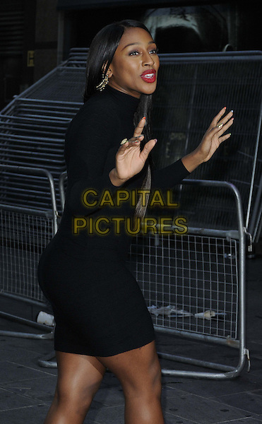 Alexandra Burke.World Premiere of 'Ill Manors' at the Empire, Leicester Square, London, England..May 30th, 2012.half length black dress hands arms mouth open red lipstick side .CAP/ROS.©Steve Ross/Capital Pictures.