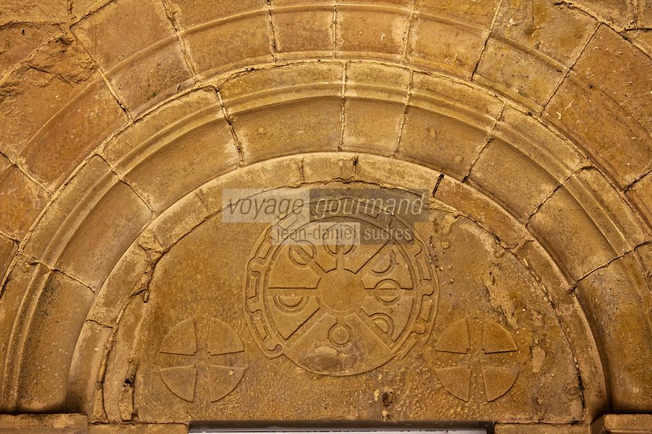 Europe/France/Midi-Pyrénées/32/Gers/Valence-sur-Baïse: Abbaye de FlaranDétail du portail  latéral de l'église
