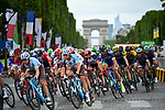 The peloton on the Champs-Elysees during Stage 21 of the 104th edition of the Tour de France 2017, an individual time trial running 1.3km from Montgeron to Paris Champs-Elysees, France. 23rd July 2017.<br /> Picture: ASO/Pauline Ballet | Cyclefile<br /> <br /> <br /> All photos usage must carry mandatory copyright credit (&copy; Cyclefile | ASO/Pauline Ballet)