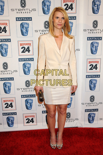 CLAIRE DANES.Attending the 16th Annual BAFTA LA Awards Season Tea Party held at the Beverly Hills Hotel, Beverly Hills, California, USA, 16th January 2010..arrivals full length clare cream white dress blazer jacket snakeskin shoes peep toe clutch bag grey gray .CAP/ADM/BP.©Byron Purvis/Admedia/Capital Pictures