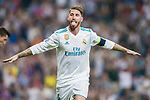 Sergio Ramos of Real Madrid celebrates during the UEFA Champions League 2017-18 match between Real Madrid and APOEL FC at Estadio Santiago Bernabeu on 13 September 2017 in Madrid, Spain. Photo by Diego Gonzalez / Power Sport Images
