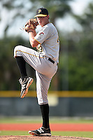GCL Pirates pitcher Trey Supak (49) throws live batting practice on June 27, 2014 at Pirate City in Bradenton, Florida.  (Mike Janes/Four Seam Images)