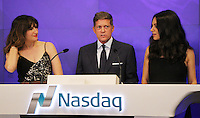 NEW YORK, NY-July 28:  Kathryn Hahn, Robert Simonds, Mila Kunis at STX Entertainment '& Bad Moms' cast  Ring The NASDAQ Closing Bell at Time Square New York. NY July 28, 2016. Credit:RW/MediaPunch