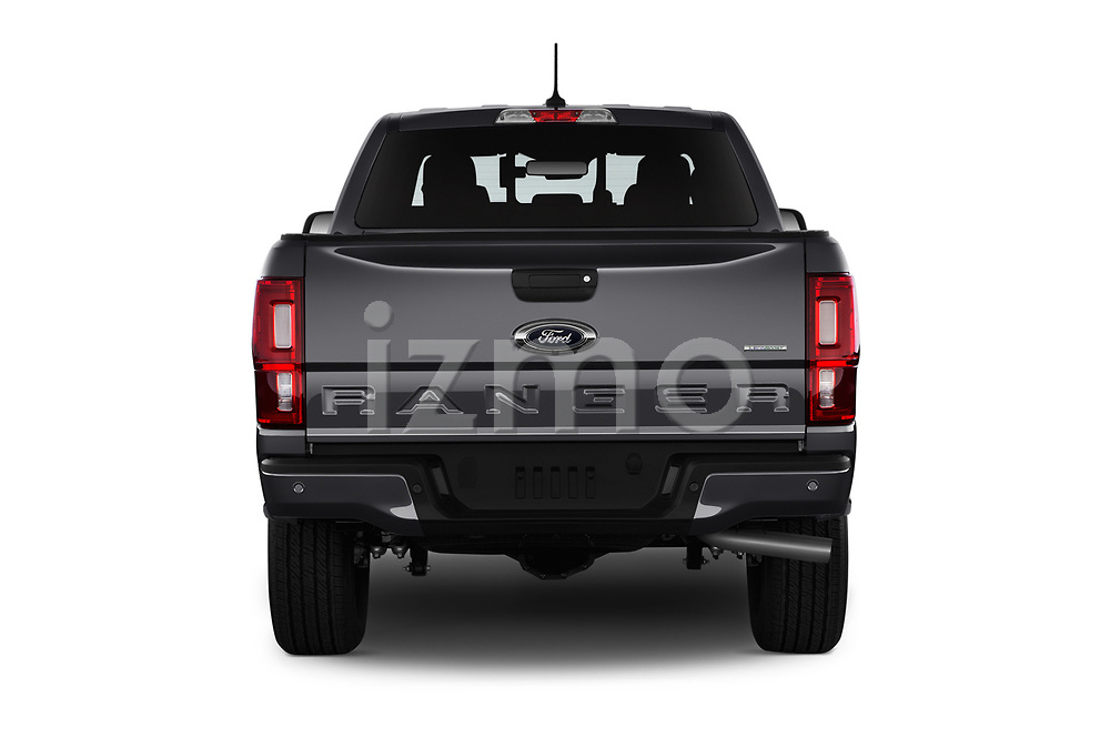Straight rear view of 2019 Ford Ranger XLT 4 Door Pick-up Rear View  stock images