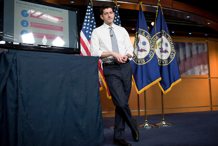 UNITED STATES - MARCH 9: Speaker of the House Paul Ryan, R-Wis., conducts a presentation in the House studio of the American Health Care Act, the GOP's plan to repeal and replace the Affordable Care Act, March 9, 2017. (Photo By Tom Williams/CQ Roll Call)