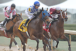 March 14, 2015: #4 Gold Medal Dancer with jockey Luis Quinonez aboard in the Azeri Stakes at Oaklawn Park in Hot Springs, AR. Justin Manning/ESW/CSM