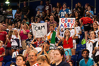 United States (USA) fans hold up signs. The women's national team of the United States defeated the Korea Republic 5-0 during an international friendly at Red Bull Arena in Harrison, NJ, on June 20, 2013.