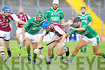 Causeway's Jason Leahy gets to the ball before Ballyduff's Eric O'Connor and Barry O'Grady at Austin Stack park, Tralee on Saturday.