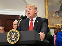 United States President Donald J. Trump makes remarks prior to signing an Executive Order to promote healthcare choice and competition in the Roosevelt Room of the White House in Washington, DC on Thursday, October 12, 2017.  The President's controversial plan is designed to make lower-premium health insurance plans more widely available.<br /> Credit: Ron Sachs / Pool via CNP /MediaPunch