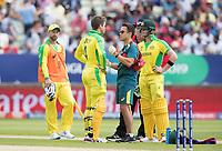 Alex Carey (Australia) gets patched up during Australia vs England, ICC World Cup Semi-Final Cricket at Edgbaston Stadium on 11th July 2019
