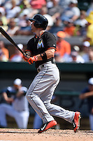 Miami Marlins outfielder Cole Gillespie (28) during a Spring Training game against the Detroit Tigers on March 25, 2015 at Joker Marchant Stadium in Lakeland, Florida.  Detroit defeated Miami 8-4.  (Mike Janes/Four Seam Images)