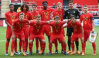 Belgium U17 pre match team photo (back row l-r) Jamie Yayi Mpie (Sampdoria), Gabriel Lemoine (Club Bruges), Lucas Lissens (RSC Anderlecht), Amadou Onana (TSG 1899 Hoffenheim), Lars Dendoncker (Club Bruges), Goalkeeper Nick Shinton (Club Bruges) & Nicolas Raskin (KAA Gent II) (front row l-r) Yorbe Vertessen (PSV Eindhoven), Siebe Vandermeulen (KRC Genk), Loic Masscho (RSC Anderlecht) & Elias Sierra (KRC Genk)  during the UEFA Under-17 Euro Championship match between Italy and Belgium at the New York Stadium, Rotherham, England on 17 May 2018. Photo by PRiME Media Images.