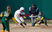 STANFORD, CA - February 25, 2011:  Sarah Hassman lays down a bunt during Stanford's 12-0 victory over North Dakota State at Stanford, California on February 25, 2011.