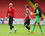 Aaron Ramsdale of Sheffield Utd jokes with Kieron Freeman of Sheffield Utd during the League One match at Bramall Lane Stadium, Sheffield. Picture date: September 17th, 2016. Pic Simon Bellis/Sportimage