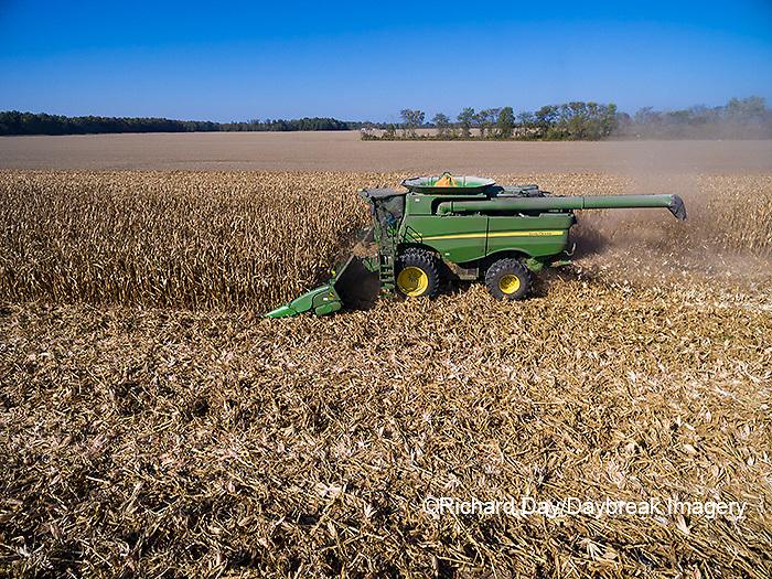 63801-08412 Corn Harvest, John Deere combine harvesting corn - aerial Marion Co. IL